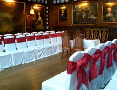 Venue decorated with red satin bows - perfect for a winter wedding day ceremony. Wedding Chair Decorations, Wedding Chairs, Red Satin, Satin Bows, Destination Wedding, Wedding Venues, Wedding Stuff, Wedding Day, Red Bows