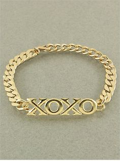 RHODIUM XOXO Gold Color Chain Bracelet by JmoireColorZone on Etsy, $11.99