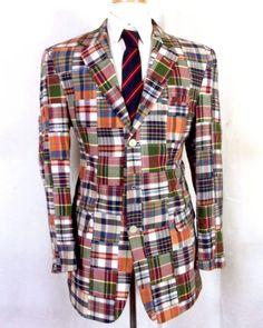 94fb1dcec euc Jos. A. Bank 100% Cotton Madras Patchwork Plaid Blazer Sportcoat summer 40  L