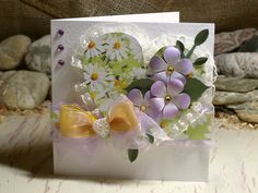 Flower and Heart Valentine Card 6x6 Lilac Green by 4SeasonCards
