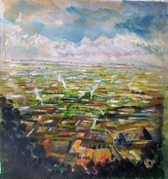 Neil Pittaway RWS, Plains of the Himalaya, wtaercolour & bodycolour.Contact info@banksidegallery.com for further details. See www.banksidegallery.com for other prints and paintings.