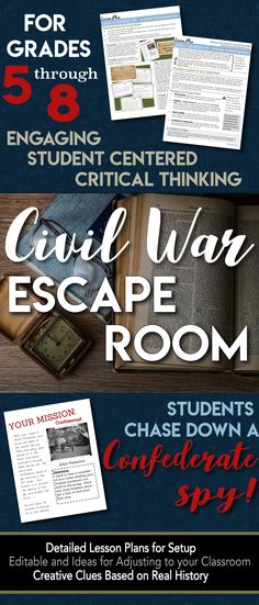 Escape Room (Break Out) Civil War - Students hunt a Confederate spy! Room (Break Out) Civil War - Students hunt a Confederate spy! Civil War Activities, Social Studies Activities, Teaching Social Studies, Teaching Tools, Teaching American History, Teaching History, History Classroom, History Teachers, History Education