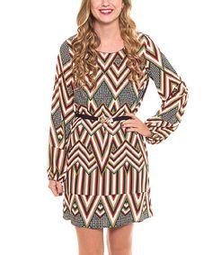 Look what I found on #zulily! Rust & Natural Zigzag Shift Dress #zulilyfinds