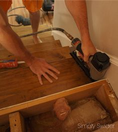 How to make wood stairs treads for cheap - Simply Swider.  @shemsclc this would be great for the basement!
