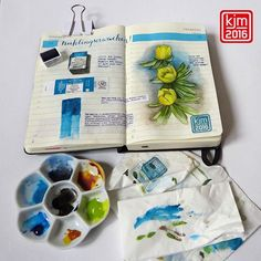 When the #winteraconites are #blooming #spring is coming! I bought a really great #turquoise #watercolor #pan from #winsorandnewton: #phtaloturquoise. #illustrateddiary #illustratedjournal #artjournal #artjournaling #moleskine #drawingoftheday #instaart #journal #journalpage #eranthishyemalis #winterling #winterlinge #watercolor #watercolorpan #whatiboughttoday #visualdiary #artsy #watercolorpalette #flower #blooming #bloom #handlettering