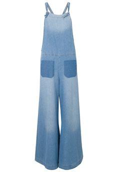 Macacão jeans pantalona frente única na @oqvestir