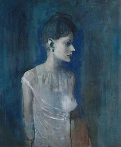 hermia  Girl in a Chemise - Pablo Picasso 1905 THE COLOR IN THIS PEICE OF ART SPEAKS VOLUMES. PICASSO HAS USED DEEP, COLD COLORS, WHICH EXPRESS SADNESS. THE WOMAN SHOWN LOOKS ALMOST HOPELESS, I DO NOT LIKE THIS PAINTING, IT MAKES ME FEEL SAD WHEN I LOOK AT IT.