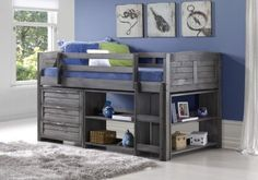 Twin Lofted Bed with Dresser and Bookshelves