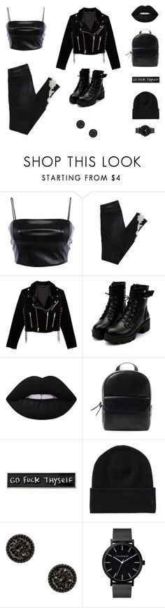 """Midnight"" by smileforsierra ❤ liked on Polyvore featuring The Kooples, Lime Crime, RIPNDIP and allblackoutfit"