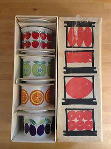 Vintage Arabia Finland Kaj Franck Jelly Jar Set with Original Box RARE Mod heaven Vintage Cups, Vintage Dishes, Vintage Glassware, Vintage Table, Vintage Love, Retro Vintage, Vintage Pottery, Vintage Ceramic, Bennington Pottery