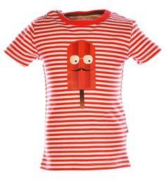 Flo baby t-shirt, model Ice, in een all over tomato streepdessin en een ijsje aan de voorzijde - Rood dessin - NummerZestien.eu