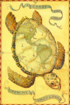 """I Carry the World Upon My Shoulders"" by Charles van Sandwyk- Akupara (Hindu) - Giant turtle that supports the world. Map Tattoos, Tatoos, World Turtle, Just Ink, Turtle Love, World Tattoo, Plans, Illustrators, Fantasy Art"