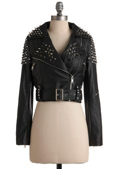Like a Boss-y Jacket - Short, Black, Silver, Studs, Long Sleeve, Buckles, Exposed zipper, Solid, Party, 80s, Fall, 2
