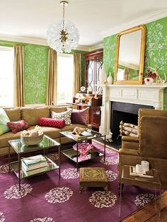 Love the apple green and plum...