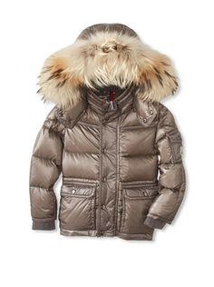 50% OFF Moncler Kid's Fur Trimmed Down Jacket (Grey)