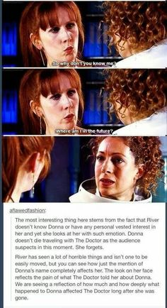 *tears* Damn I loved Donna. I'm glad she didn't die, but what did happen to her seemed almost even more sad...*sigh*