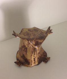 #Owl made at Odder Højskole 2014, #KroezeDezign #pladedyr #keramik #ceramic overdraget til genbrugsbutik