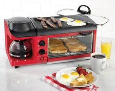 Nostalgia Retro Red or Blue Coffee Maker Toaster Oven and Non Stick Griddle Only 10 In Stock Order Today! Product Description: The Nostalgia Retro Series Powerful Family Size Breakfast Station makes a complete breakfast with just one Accessoires Camping Car, Kitchen Gadgets, Kitchen Appliances, Kitchen Tools, Kitchen Products, Kitchen Ideas, House Gadgets, Tiny House Appliances, Office Gadgets