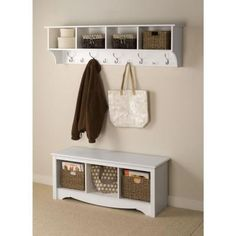 Prepac 36 in. Wall-Mounted Coat Rack in White-WEC-3616 - The Home Depot