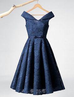 Eleganckie Sukienki Wizytowe 2016 A-linia Długości Szyi Herbata Granatowa Sukienka Koronki