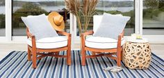 Hamptons Blue White Stripe Indoor Outdoor Rug Dash and Albert outdoors lifestyle design nautical Indoor Outdoor Area Rugs, Outdoor Chairs, Outdoor Furniture Sets, Canada National Parks, Dash And Albert, Home Safes, Close To Home, Exeter