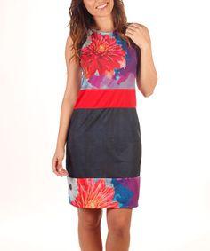 Look at this #zulilyfind! Black & Red Flower Sheath Dress by Avispada #zulilyfinds