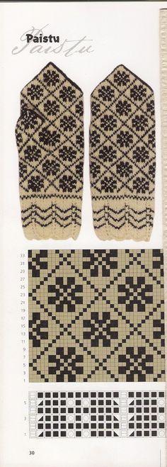 Paistu mitten pattern from Estonia Knitting Charts, Knitting Stitches, Knitting Socks, Hand Knitting, Knitting Patterns, Knitting Machine, Knitted Mittens Pattern, Crochet Mittens, Knitted Gloves