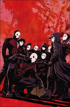 Damian Wayne leading the Robins wearing Court of Owls mask