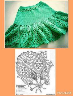 Falda abanicos y piñas
