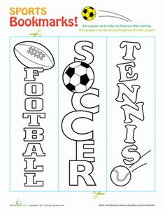 Inspire your little sports star to exercise his reading skills a bit more, and print these sports-themed bookmarks that he can color himself!