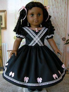 Black 1850s dress with pink trim by Tomi Jane, via Flickr