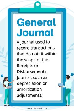 General Journal: A journal used to record transactions that do not fit within the scope of the receipts or Disbursements Journal, such as or Accounting Classes, Accounting Basics, Accounting Principles, Bookkeeping And Accounting, Bookkeeping Business, Small Business Accounting, Accounting And Finance, Accounting Software, Business Money