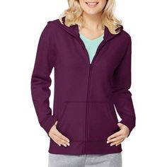 Hanes Women's Essential Fleece Full Zip Hoodie Jacket, Size: XL, Purple