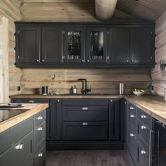 New Kitchen, Kitchen Decor, Industrial Kitchen Design, Barn Living, Cabin Kitchens, Cabin Interiors, House Inside, Cabins And Cottages, Dream Home Design