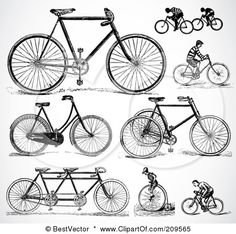 209565-Royalty-Free-RF-Clipart-Illustration-Of-A-Digital-Collage-Of-Retro-Black-And-White-Bicycles-And-People-Riding-BikesRetro Black And White Bicycles And People Riding Bikes by BestVector