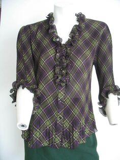 SIGNATURE by LARRY LEVIN Top Blouse Ruffles Crinkle 3/4 Sleeves Green Purple PL #SignaturebyLarryLevine #ButtonDownBlouse #Versatile