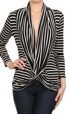 black + white wrap sweater