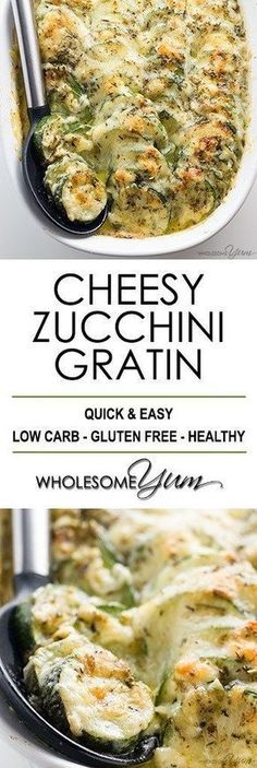 Zucchini Gratin Recipe (Low Carb Cheesy Zucchini Casserole) – This easy zucchini gratin recipe is a cheesy zucchini casserole that everyone will love! Healthy, low carb, gluten-free, and absolutely delicious. Low Carb Side Dishes, Side Dish Recipes, Vegetable Recipes, Zucchini Side Dishes, Ketogenic Recipes, Vegetarian Recipes, Cooking Recipes, Healthy Recipes, Vegetarian Low Carb Meals