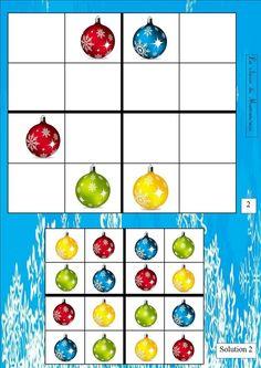 Extra uitdaging voor slimme kleuters sudoku's Theme Noel, Worksheets, Preschool, December, Winter, Christmas, Brain Games, Montessori, Recycled Bottles