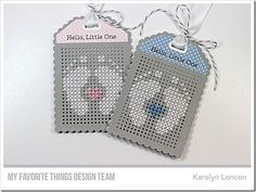 tag cards tiny feet baby newborn welcome MFT Stamps: Hello, Little One Die-namics: MFT Scallop Cross-Stitch Tag Die-namics, MFT Cross-Stitch Tag Karolyn Loncon Embroidery Cards, Learn Embroidery, Cross Stitch Embroidery, Embroidery Patterns, Hand Embroidery, Cross Stitch Cards, Cross Stitch Baby, Stitching On Paper, Cross Stitching