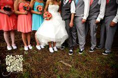 jenna & adam's the meadows at marshdale wedding – evergreen wedding photographer | Lindsay J. C. Lack – Kansas City & Colorado Wedding Photographer / Photojournalist grey, teal, blue, aqua, peach, orange, mauve, van's shoes, bridal party, gerber daisies, daisy bouquet