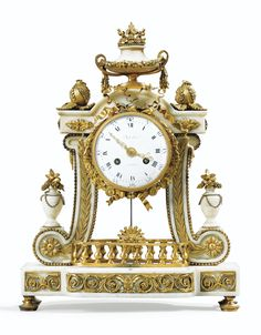 A GILT-BRONZE WHITE MARBLE MANTEL CLOCK IN LOUIS XVI STYLE, CIRCA 1880, THE DIAL SIGNED DUTERTRE / A PARIS