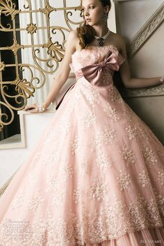 Bridal Pink - pink wedding dress; cream lace overlay; pink ballgown with bow