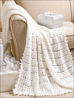 """Quick and easy, this lacy afghan will be treasured by any happy couple. This e-Pattern was originally published in Crochet World June 2009. Size: 45"""" x 62"""". Made with medium (worsted weight) yarn and size I/9/5.5mm needles. Skill Level: Intermediate"""