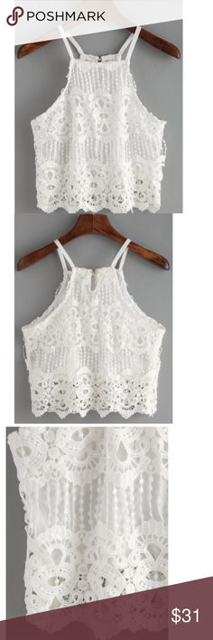 Spaghetti Strap Lace Crochet Cami Top What an awesome Sumer piece! Beautiful all lace Cami with spaghetti straps and back keyhole closure. A staple for this season's wardrobe! One size Fits 32-36 A/B Tops