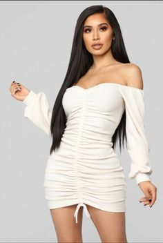 Available In Cream Off Shoulder Dress Long Sleeve Ruched Functional Drawstring Stretch Polyester Shop this piece at Fashion Nova. Curve Dresses, Sexy Dresses, Beautiful Dresses, Casual Dresses, Cream Dress Outfit, Teen Fashion Outfits, Girl Outfits, Women's Fashion, Ruched Dress