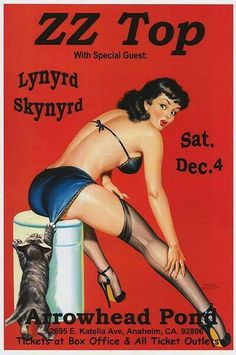 ZZ Top and Lynyrd Skynyrd concert poster Retro Pin Up, Pin Up Girl Vintage, Pin Up Posters, Band Posters, Rock Posters, Music Posters, Zz Top, Lynyrd Skynyrd, Pinup Art