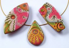 2 Good Claymates: Some new pieces from Julie Picarello's workshop; like the color combo...