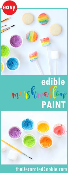 marshmallow paint: Edible rainbow paints for kid-friendly cookie decorating