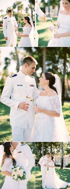 Elegant Military Yacht Club Wedding - Wedding and Party ideas - - Yacht Wedding Ideas - Beach Wedding Groom, Yacht Wedding, Wedding Bride, Green Bridesmaid Dresses, Wedding Dresses, Wedding Tags, Party Wedding, Wedding Trends, Wedding Ideas